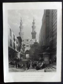 After David Roberts C1860 Art Journal Print. Gate of the Metwaley's, Cairo, Egypt